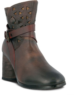 Spring Step L'Artiste Leather Cross Over Strap Booties - Madonna
