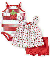 Starting Out Baby Girls Newborn-9 Months Strawberry Top, Bodysuit, & Solid Shorts 3-Piece Set