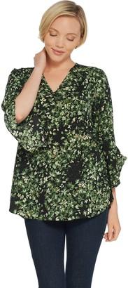Belle By Kim Gravel V-Neck Floral Flutter Sleeve Blouse