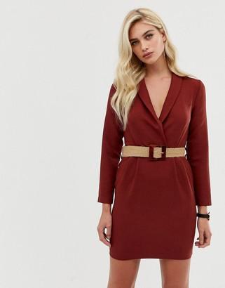 Asos Design DESIGN tux mini dress with natural buckle belt-Red