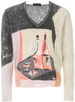 Prada abstract V-neck sweater