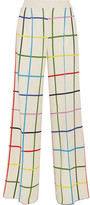 Mary Katrantzou Donis Checked Stretch-crepe Wide-leg Pants - Off-white