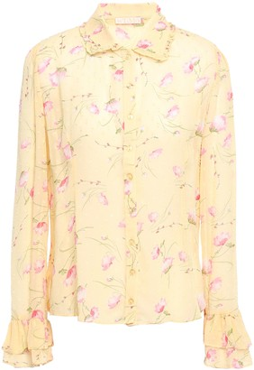 By Ti Mo Ruffle-trimmed Floral-print Fil Coupe Shirt
