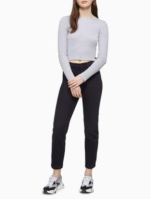 Calvin Klein Solid Ribbed Long Sleeve Crop Top