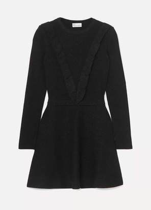 RED Valentino Ruffled Metallic Ribbed Cotton-blend Mini Dress - Black