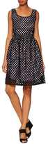 Carven Cotton Hem Stitched Print Fit And Flare Dress
