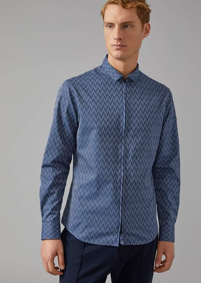 Giorgio Armani Shirt In Zigzag Jacquard Cotton