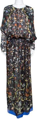 Roberto Cavalli Black Floral & Butterfly Print Silk Sheer Maxi Kaftan L