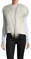 Helmut Lang Women's Cotton Fur Fringe Distressed Vest