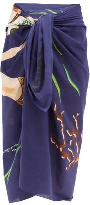 Loewe Paula's Ibiza - Mermaid-print Cotton Sarong - Blue Multi