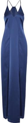 Halston Split-front Chiffon-paneled Satin Gown