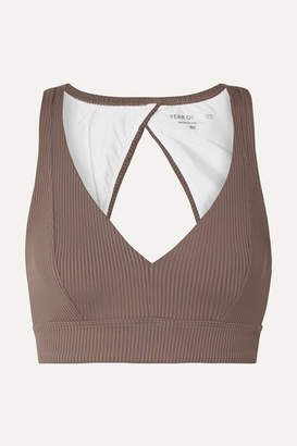 YEAR OF OURS Veronica Cutout Ribbed Stretch Sports Bra - Taupe