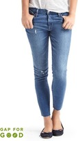 Gap Washwell mid rise distressed true skinny ankle jeans