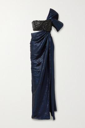 Oscar de la Renta Draped Crystal-embellished Silk-blend Lame Gown - Midnight blue