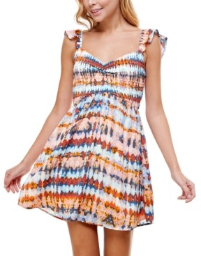 Crystal Doll Juniors' Smocked Tie-Dyed Dress