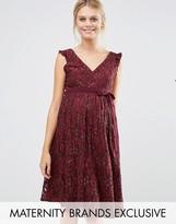 Little Mistress Maternity Lace Ruffle Neck Skater Dress