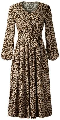 Goodnight Macaroon 'Clara' Animal Print Tied Waist Midi Dress (2 Colors)