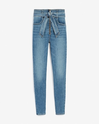 Express Super High Waisted Belted Zip Front Skinny Jeans