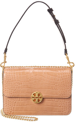 Tory Burch Chelsea Croc-Embossed Leather Convertible Shoulder Bag