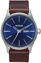Nixon Sentry Leather with Blue Dial