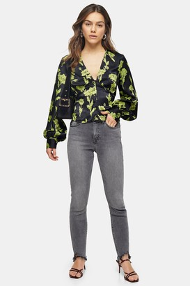 Topshop Womens Petite Grey Jagged Hem Jamie Jeans - Grey