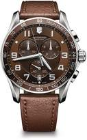 Victorinox Chronograph Classic Brown Leather Strap Watch, 45mm