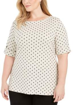 Karen Scott Plus Size Dot-Print Elbow-Sleeve Top, Created For Macy's