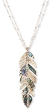"""lonna & lilly Gold-Tone Pave & Stone Feather 36"""" Pendant Necklace"""