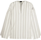Joseph Denver Striped Cotton And Silk-blend Blouse - White