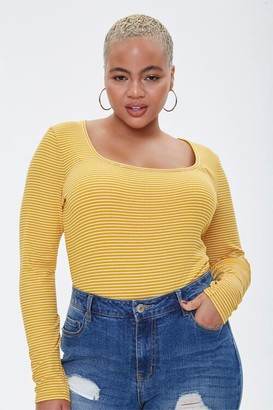 Forever 21 Plus Size Rib-Knit Striped Top