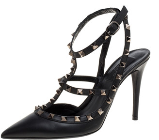 Valentino Black Leather Rockstud Ankle Strap Pointed Toe Sandals Size 38.5
