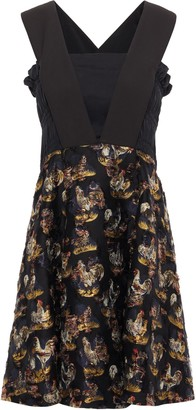 Carven Shirred Paneled Crepe And Jacquard Mini Dress