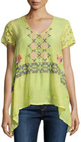 Johnny Was Wilson Eyelet-Sleeve Embroidered Tunic