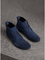 Burberry Brogue Detail Suede Desert Boots , Size: 40.5, Blue