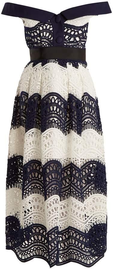 Self-Portrait Off-the-shoulder Guipure-lace midi dress