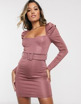 Asos Design DESIGN long sleeve stretch satin belted mini dress