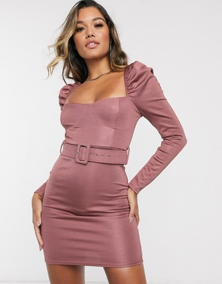 Asos DESIGN long sleeve stretch satin belted mini dress