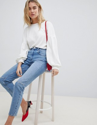 ASOS DESIGN high rise farleigh 'slim' mom jeans in mid wash with knee seam detail