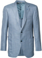 Canali woven check blazer - men - Silk/Linen/Flax/Wool - 50