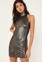 Missguided Petite Exclusive Metallic Black Mini Dress