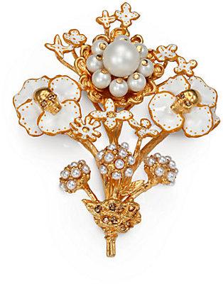 Alexander McQueen Skull & Beaded Flower Brooch