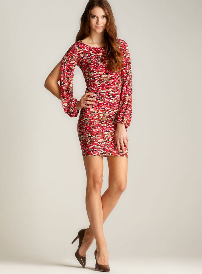 Laundry by Shelli Segal Printed Slit Sleeve Dress