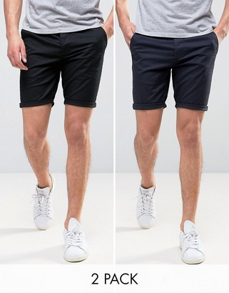 Asos Design 2 Pack Skinny Chino Shorts In Black & Navy Save