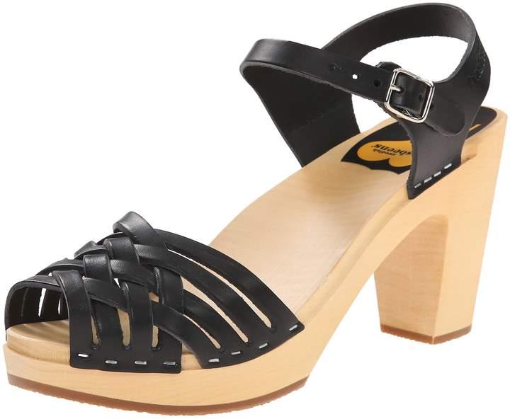 Swedish Hasbeens Women's Braided Sky High Sandal,Black,9 M US