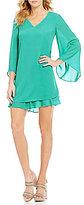 Daniel Cremieux Mia Georgette Long Sleeve Flutter Dress