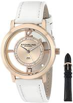 Stuhrling Original Winchester Tiara Women's Quartz Watch with Rose Gold Dial Analogue Display and White Leather Strap 388L2.SET.03