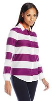 Lacoste Women's Long Sleeve Bold Stripe Cotton Silk Voile Slim Fit Shirt