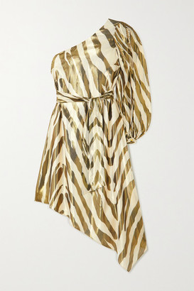 HANEY Annika Metallic Zebra-print Silk And Lurex Blend Dress - Zebra print
