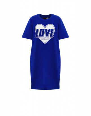 Love Moschino Heart Logo Stretch Fleece Dress Woman Blue Size 38 It - (4 Us)