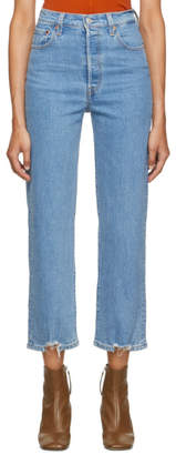 Levi's Levis Blue Cutoff Rib Cage Straight Ankle Jeans